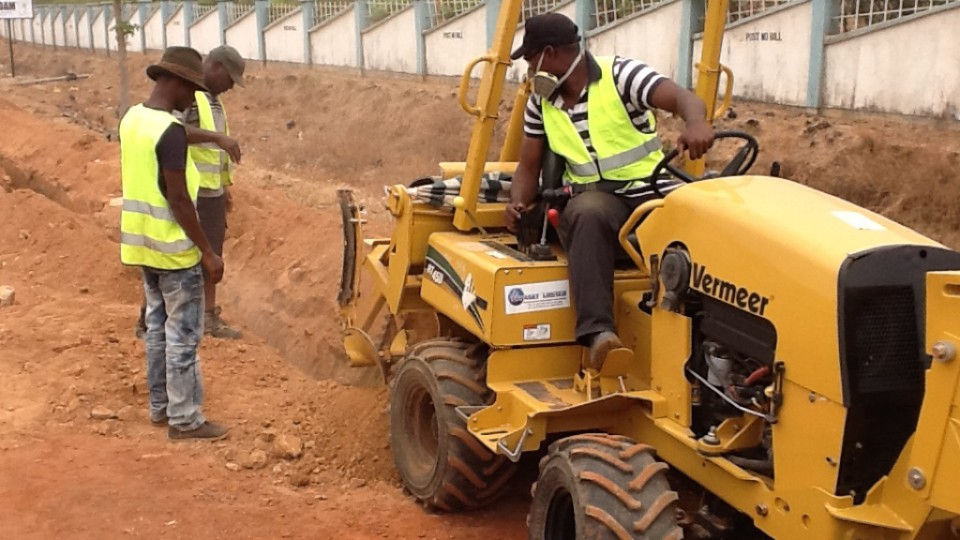 Mechanical trenching with Vermeer RT450 trencher in Jos